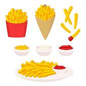 French fries illustration set
