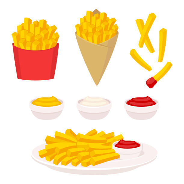 French fries illustration set French fries vector illustration set. Potato fries in fast food box, paper cone and on plate. Dipping sauce: ketchup, mayonnaise and mustard. french fries stock illustrations