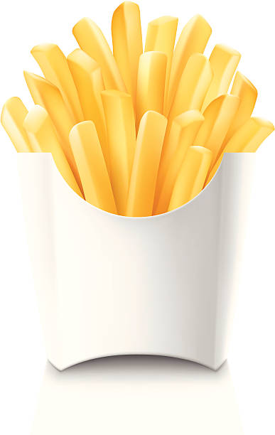 French fries in blank white cardboard container Vector french fries in white box, isolated on white. french fries stock illustrations
