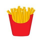 French fries in paper red box, icon