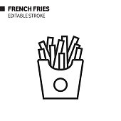 istock French Fries Line Icon, Outline Vector Symbol Illustration. 1190858218