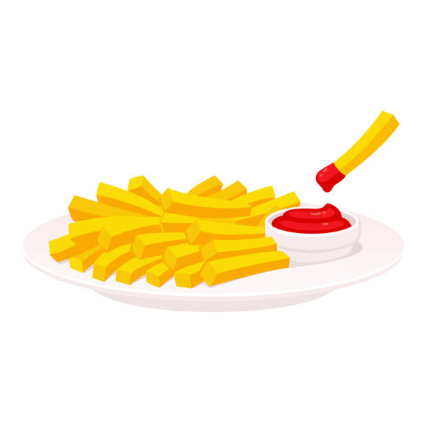 French fries on plate French fries on plate with fry dipped in ketchup. Potato side or appetizer for dinner, isolated vector illustration. french fries stock illustrations