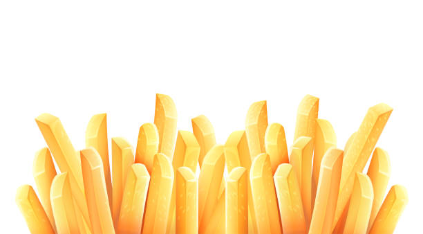 French fries. Roasted potato chips. Vector illustration. French fries. Roasted potato chips in deep fat fry oil potatoes. Yellow sticks. Fastfood. Unhealthy tasty food. Horizontal banner, isolated on white background. Eps10 vector illustration. french fries stock illustrations