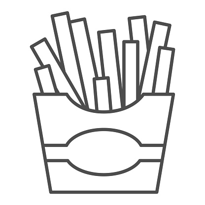 French fries thin line icon, junk food concept, Potatoes fries in paper bag sign on white background, fries icon in outline style for mobile concept and web design. Vector graphics.