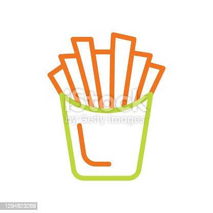 istock French fries thin line icon.Editable Stroke 1294823269