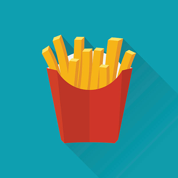 French fries. Vecto French fries. Vector illustration, flat design. French fries in paper box. French fries in isolated flat design with long shadow. French fries fast food. French fries in a red package. french fries stock illustrations
