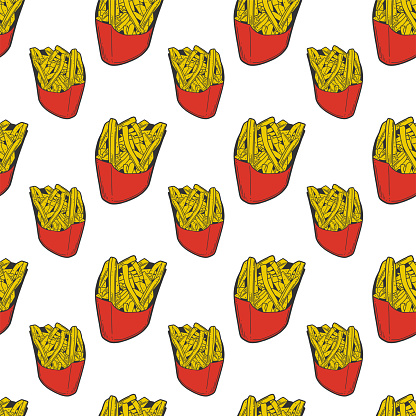 French fries. Vector concept in doodle and sketch style. Hand drawn illustration for printing on T-shirts, postcards.
