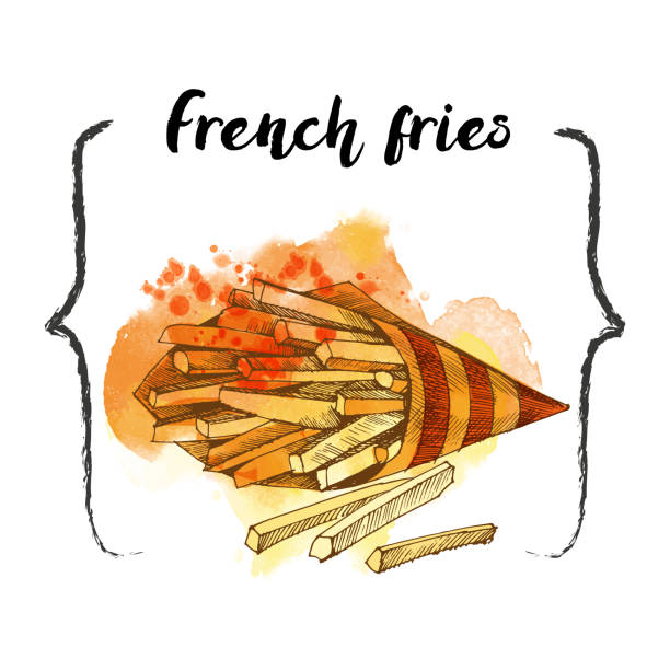 French Fries Fast food. Hand drawn sketch. essen stock illustrations