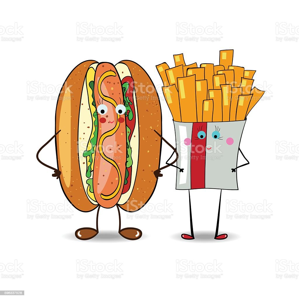 French fries with Hot Dog  illustration for fastfood places. Vector royalty-free french fries with hot dog illustration for fastfood places vector stock vector art & more images of beef