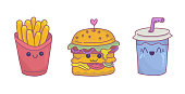 French fries,burger and soda with kawaii face expressions.