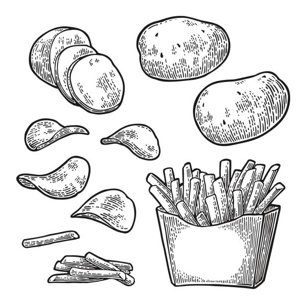 stockillustraties, clipart, cartoons en iconen met french fry stick potato in paper box and chips. - friet