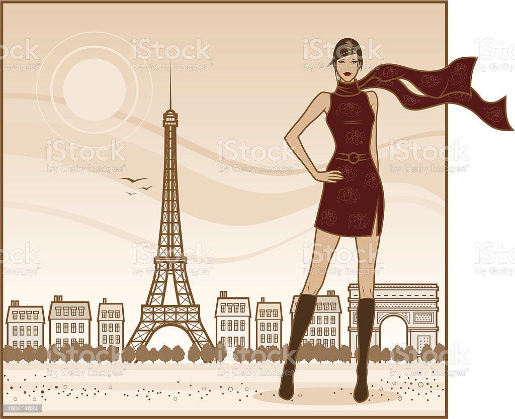 French Girl in Red vector art illustration