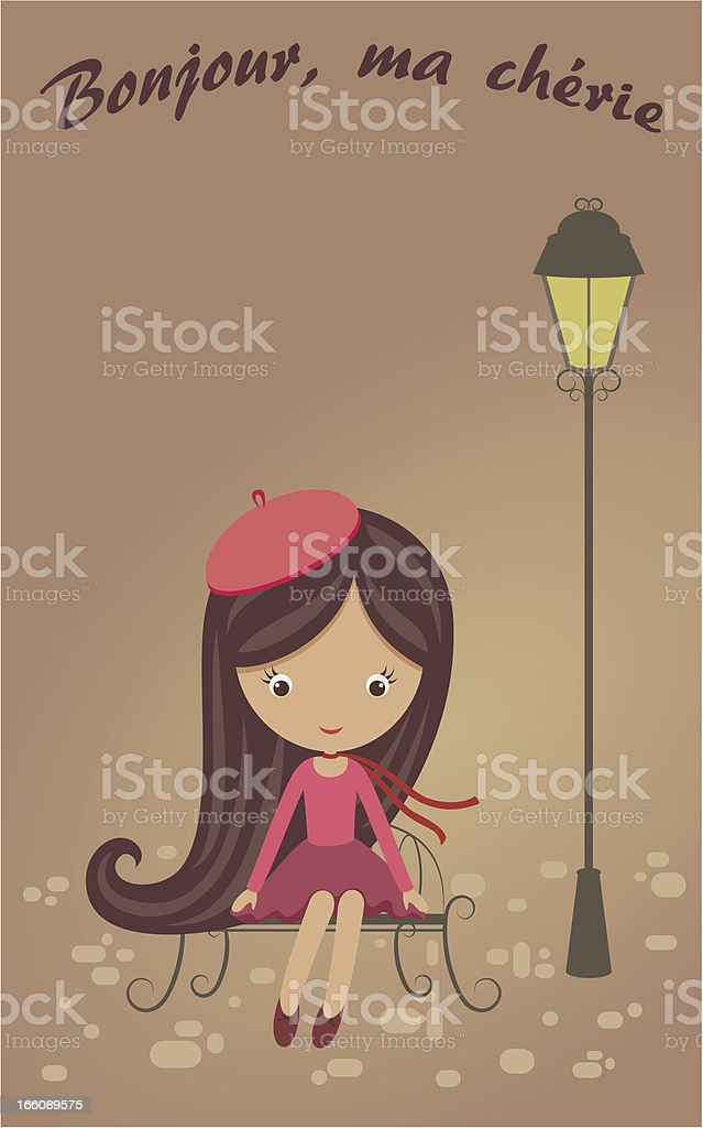 French girl sitting on a bench royalty-free stock vector art