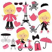 French girl vector illustration