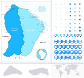 French Guiana  map in colors of blue with navigation icon set