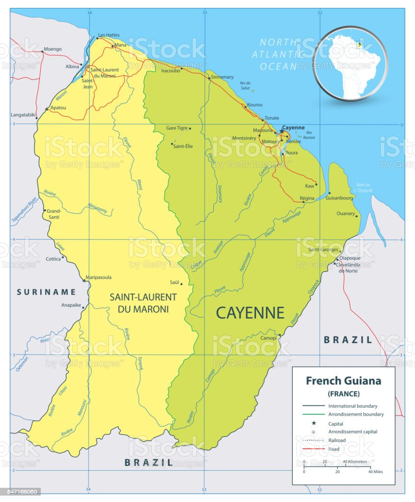 Map Of France Roads.French Guiana Political Map With Roads And Rivers Stock Illustration
