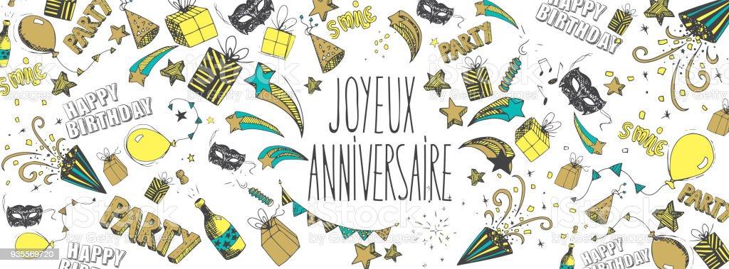 Franzosisch Happy Birthday Hintergrund Stock Vektor Art Und Mehr