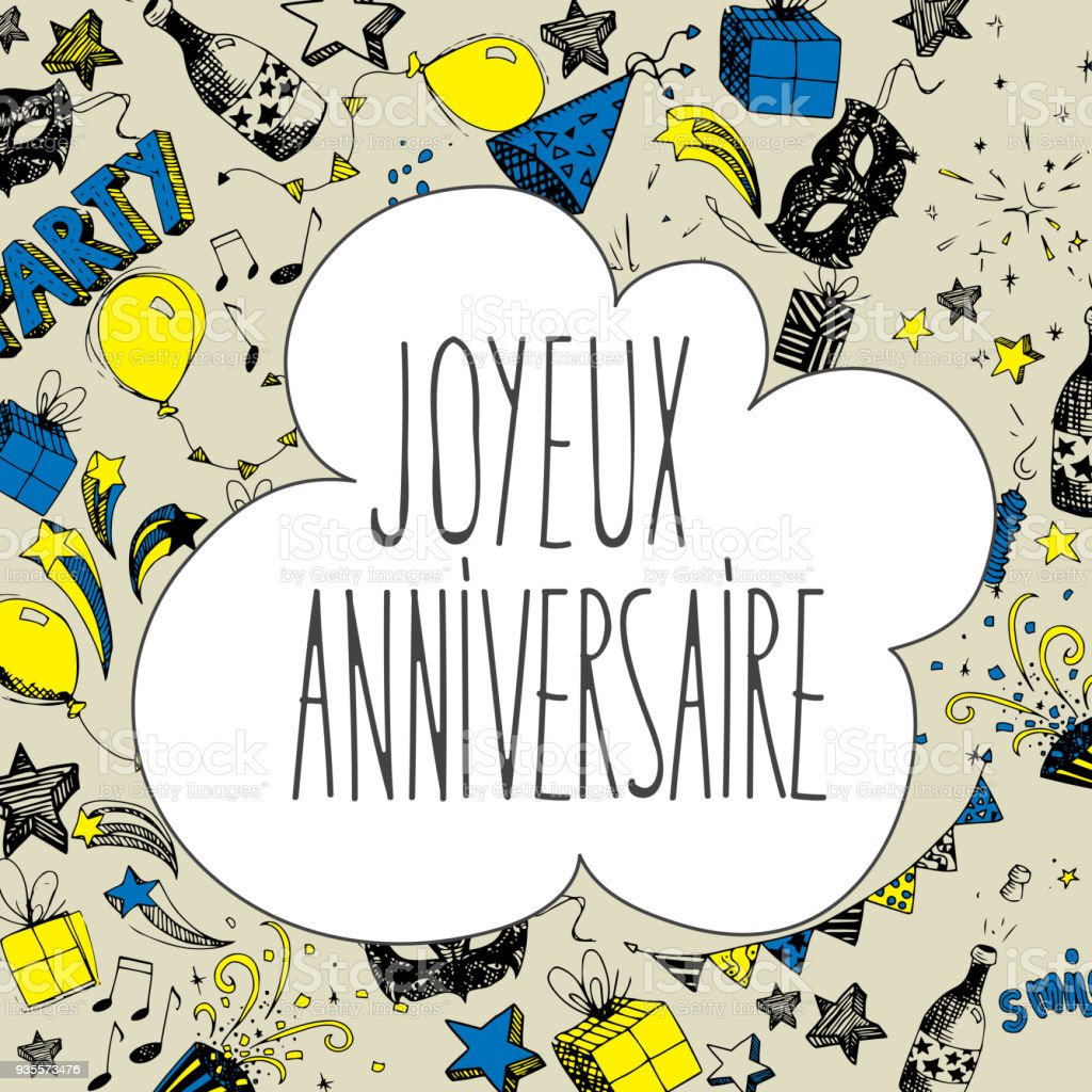 Französisch Happy Birthday Hintergrund Stock Vektor Art und mehr ...