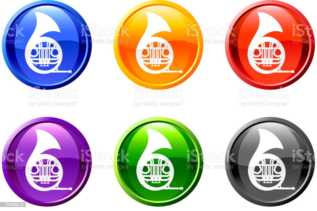 French horn button royalty free vector art royalty free vector royalty-free stock vector art