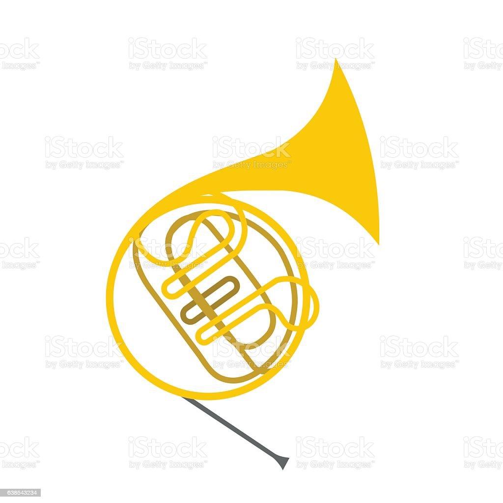 French horn flat icon vector art illustration