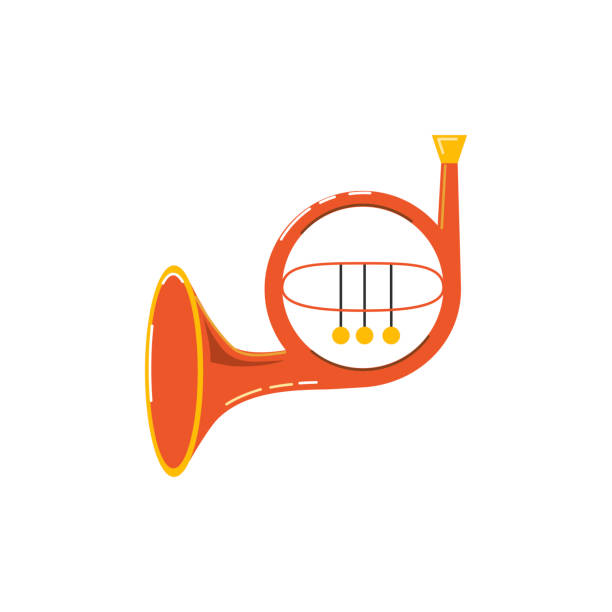 french horn icon isolated on white background. - waltornista stock illustrations
