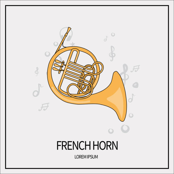 french horn icon - waltornista stock illustrations