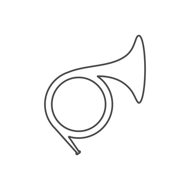 french horn line icon. - waltornista stock illustrations