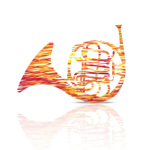 french horn music instrument colorful and white  background illustration - waltornista stock illustrations