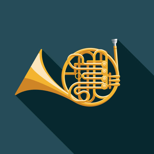 french horn musical instrument icon - waltornista stock illustrations