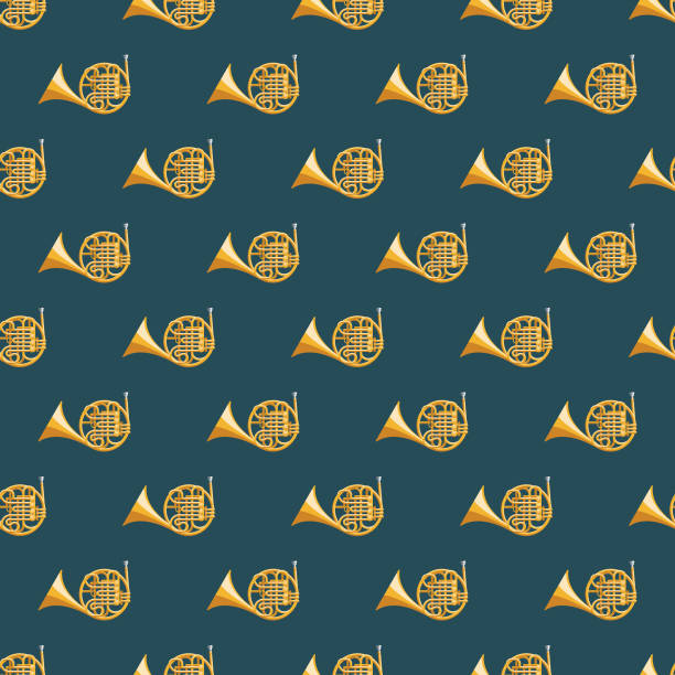 french horn musical instrument seamless pattern - waltornista stock illustrations