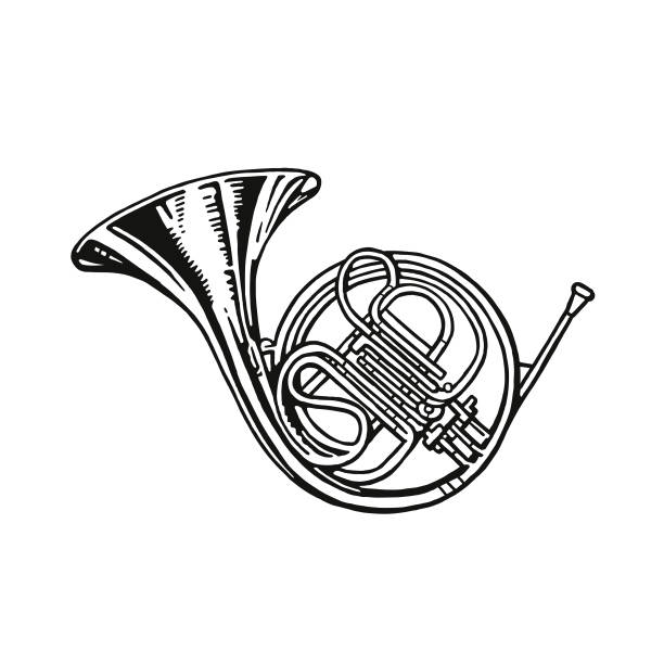 french horn - waltornista stock illustrations