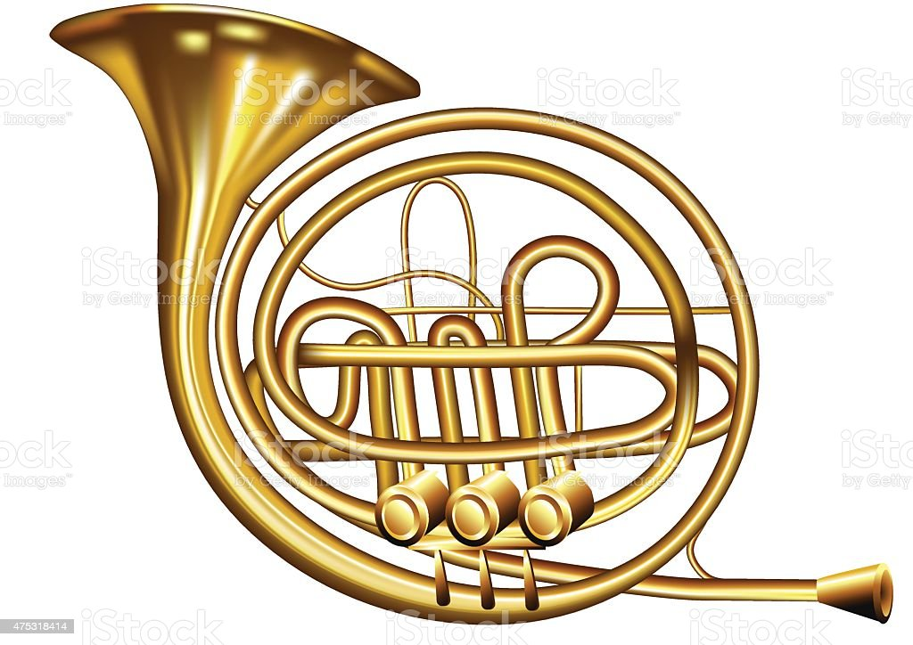 french horn vector art illustration