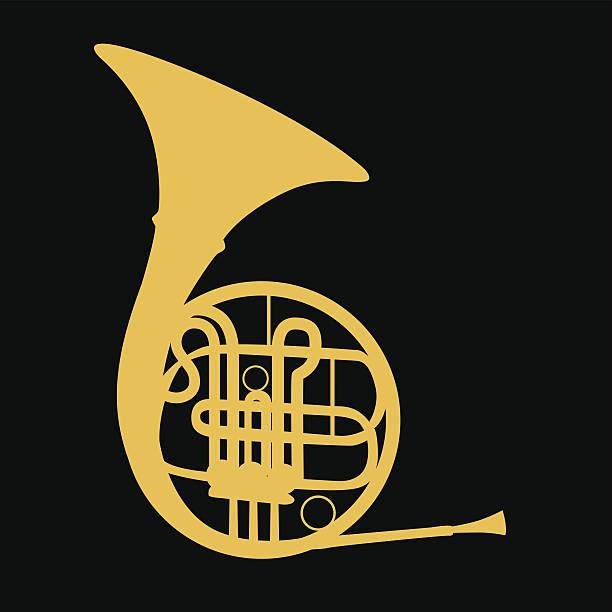 francuski horn- wektor - waltornista stock illustrations