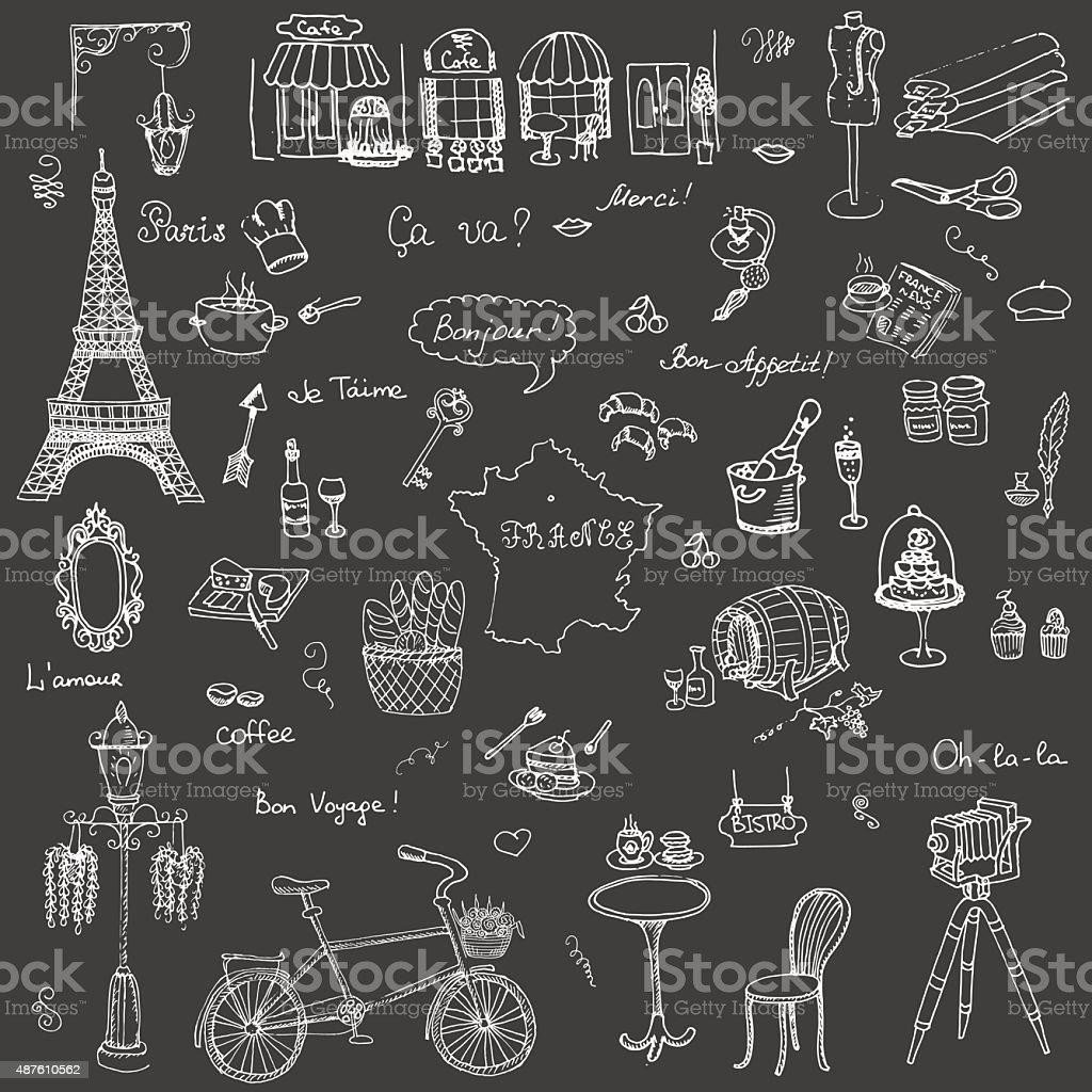Icônes de français - Illustration vectorielle