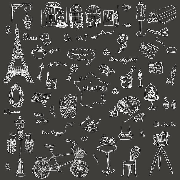 French icons vector art illustration