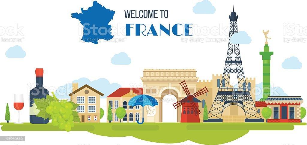 French Landmarks.. Eiffel tower, Notre Dame in Paris, France vector art illustration