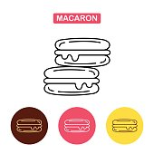French macaron cookies icon.