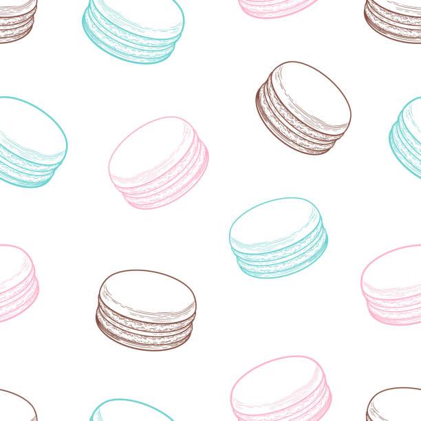 ilustrações, clipart, desenhos animados e ícones de macarons franceses padrão sem emenda de cookies. ilustração em vetor decorativo mão desenhada doodle - macaroon