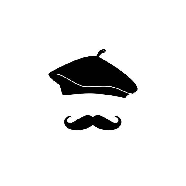 französischer mann in barett - hipster vektor icon. - mann bart freisteller stock-grafiken, -clipart, -cartoons und -symbole