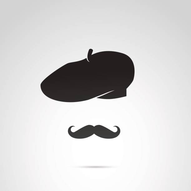 French man with mustache and beret. Vector art: simple icon of french man. france stock illustrations