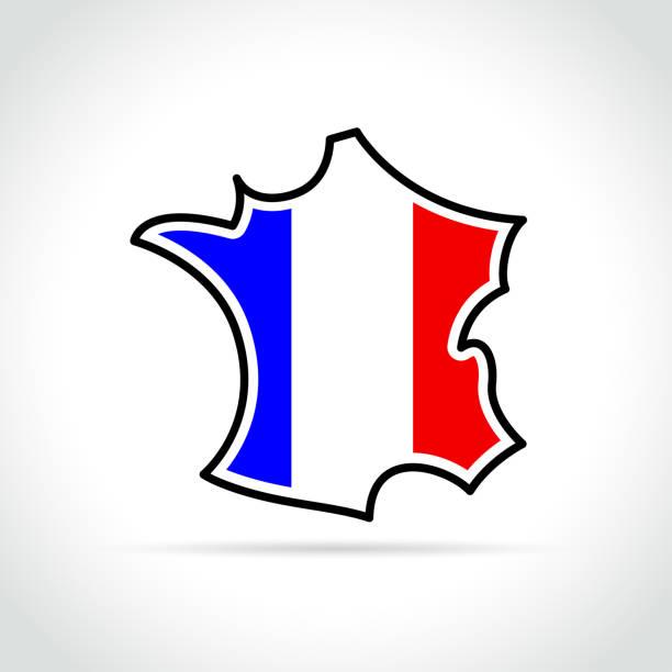 francuska ikona mapy na białym tle - francja stock illustrations