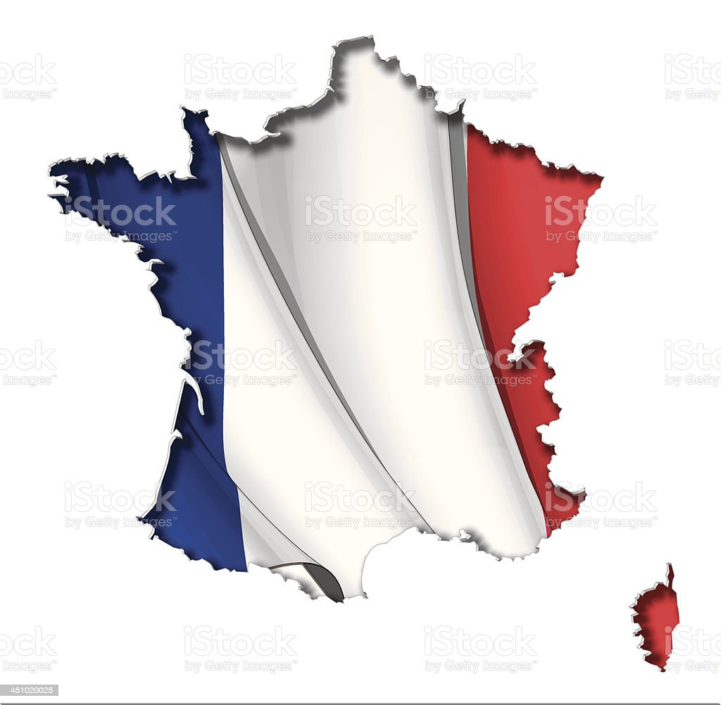 French Map-Flag royalty-free stock vector art