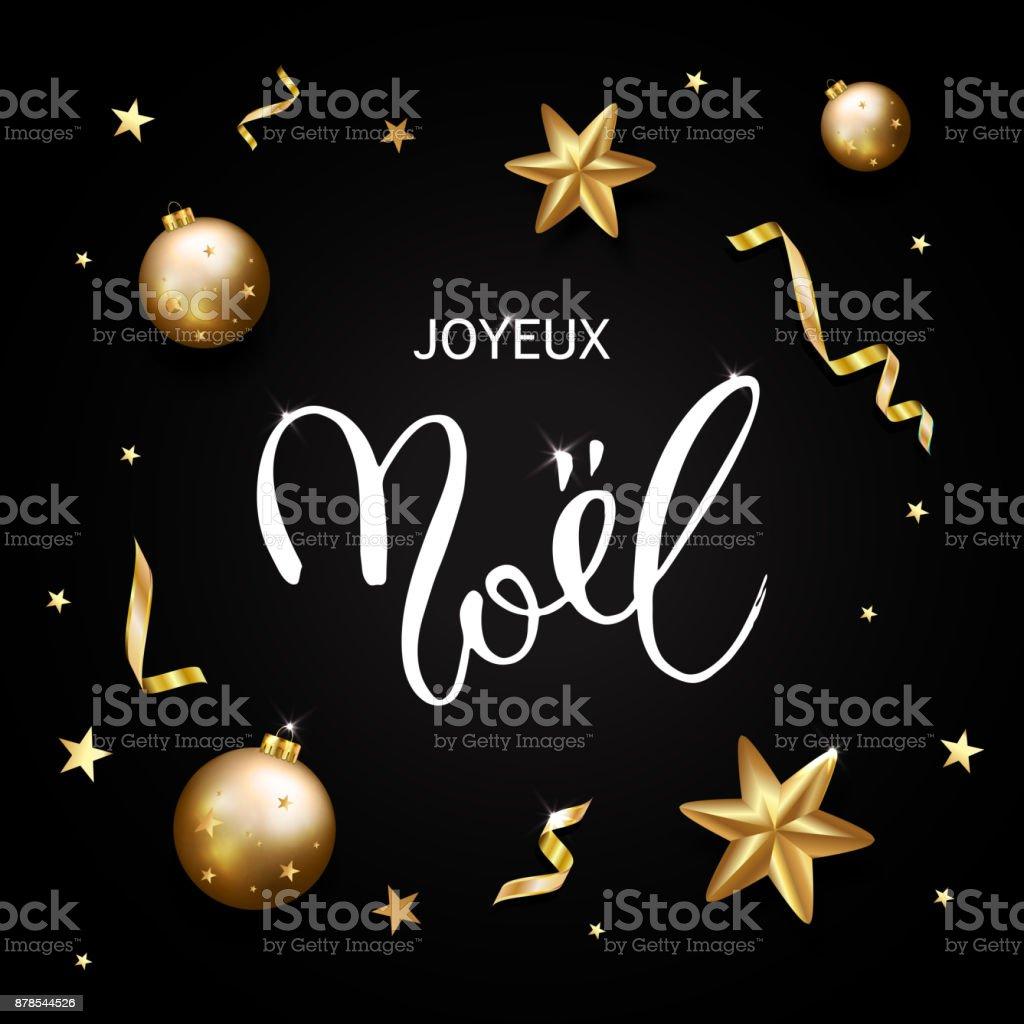 Franzosisch Merry Christmasjoyeux Noel Grusskarte Goldglitter Sterne