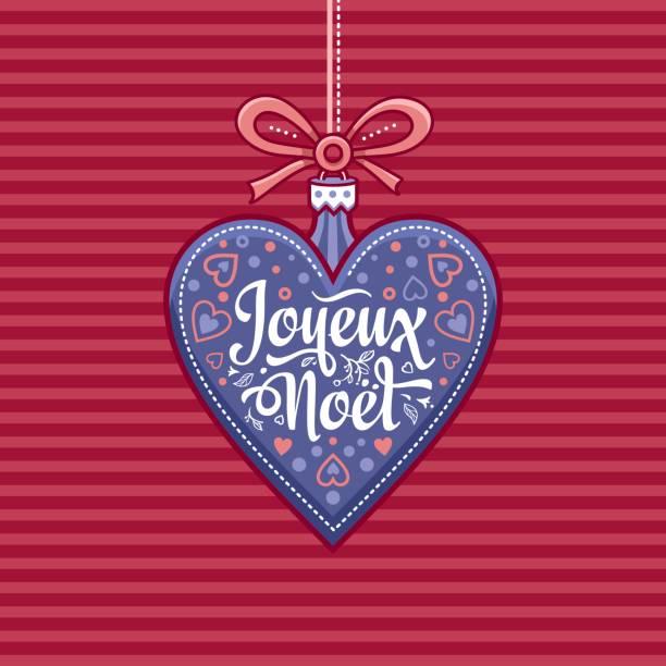 Joyeux Noel Twilight.French Merry Christmas Joyeux Noel Greeting Card Stock