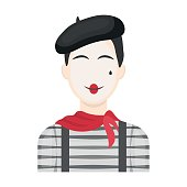 French mime icon in cartoon style isolated on white background. France country symbol stock vector illustration.