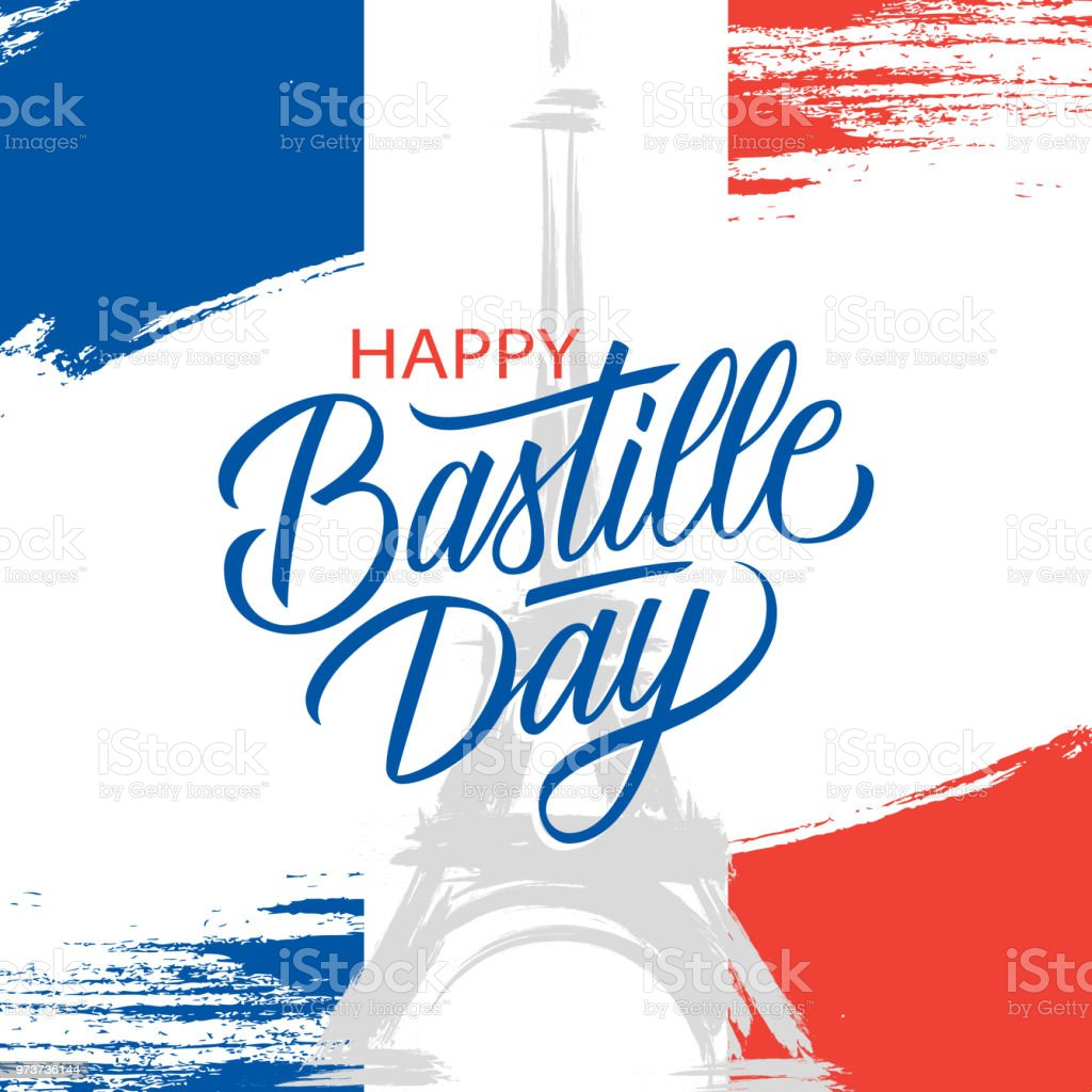French National Day 14th Of July Brush Stroke Greeting Card In