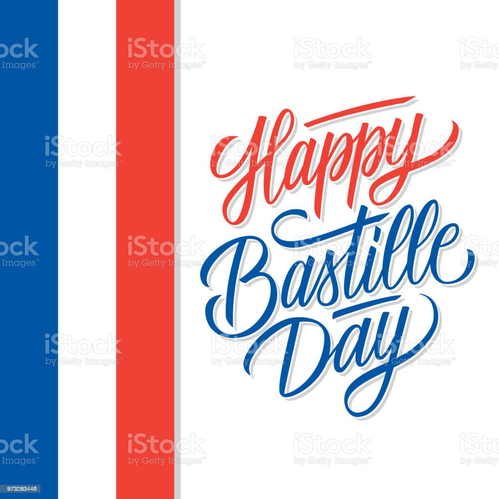 French National Day Celebrate Card With Hand Lettering Holiday