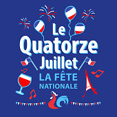 Celebrating Bastille Day, the national day of France, on 14th July with elements of French flag, rooster, wine, Eiffel Tower, balloons, musical note, bunting and fireworks on the blue background