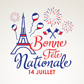 Celebrating Bastille Day, the national day of France, on 14th July with elements of French flag, Eiffel Tower, balloons and fireworks