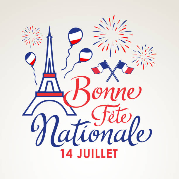 French National Day Celebration Celebrating Bastille Day, the national day of France, on 14th July with elements of French flag, Eiffel Tower, balloons and fireworks national holiday stock illustrations
